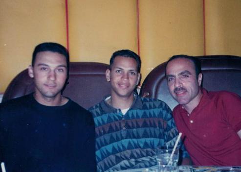 Steven Bort with Derek Jeter and Alex Rodriguez